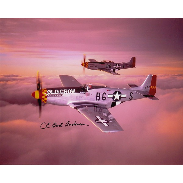 Bud Anderson WW2 US Ace genuine signed authentic signature photo