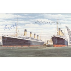 RMS Titanic authentic signed autograph postcard by Survivor Eva Hart and Edith Haisman
