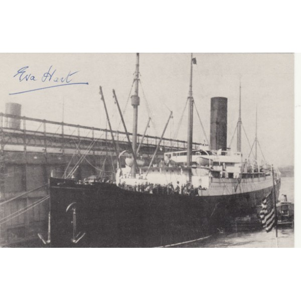 RMS Titanic authentic signed autograph postcard by Survivor Eva Hart, Carpathia.