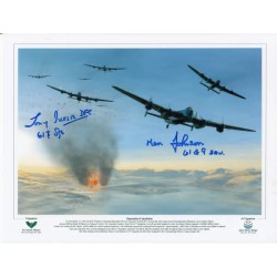 Crew signed Lancaster 617 Sqn signed authentic autograph photo
