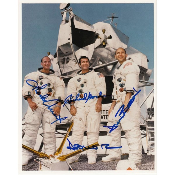 Alan Bean, Pete Conrad, Dick Gordon Apollo 12 signed autograph photo