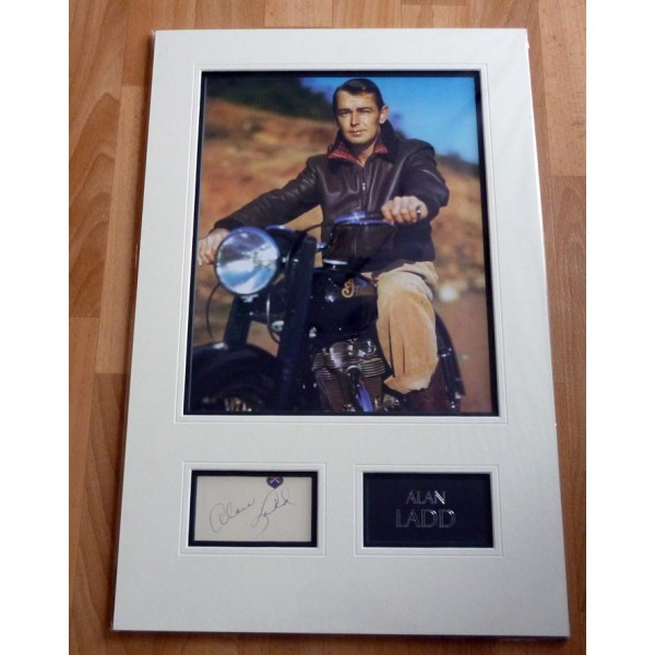 Alan Ladd genuine authentic signed autograph display with photo.