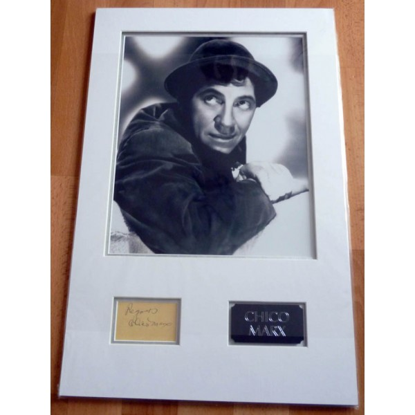 Chico Marx, Marx Brothers, genuine authentic signed autograph display with photo.