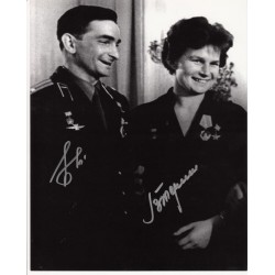 Cosmonauts Valentina Tereshkova and Bykovsky authentic signed autograph image 1
