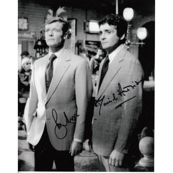 James Bond Roger Moore David Hedison genuine authentic signed autograph photo
