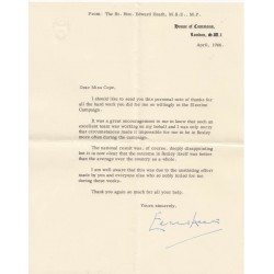 Edward Heath Prime Minister signed authentic letter autograph