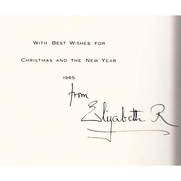 Queen Mother signed Christmas card authentic autograph signed photo.