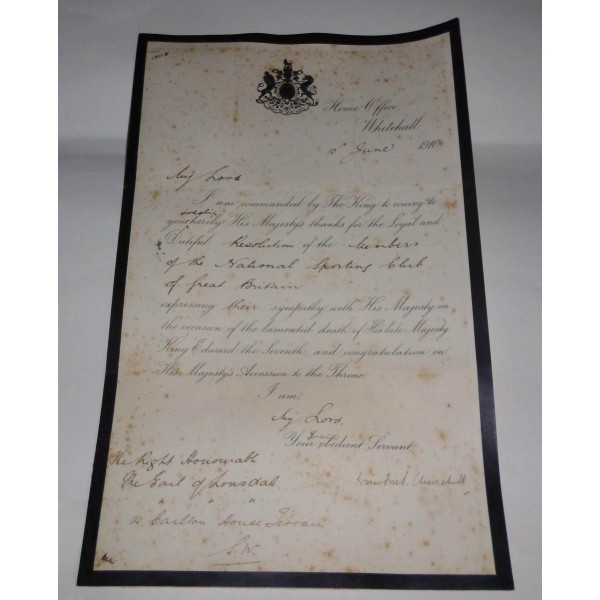Winston Churchill authentic signed document 1910 genuine autograph