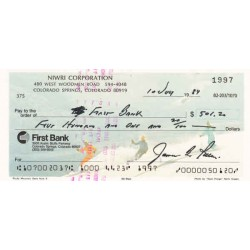 Apollo James 'Jim' B Irwin authentic genuine signed autograph cheque