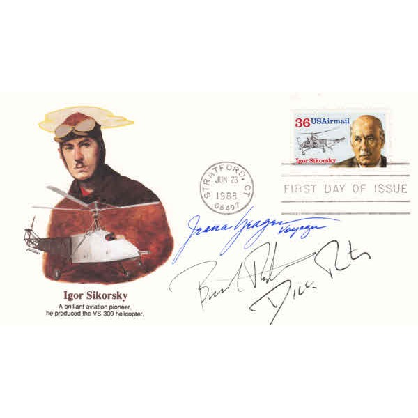 Burt and Jeana Yeager, Burt Rutan genuine authentic autograph signed FDC cover