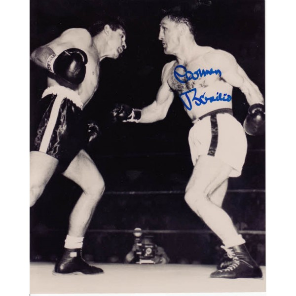 Boxing Henry Carmen Basilio signed authentic autograph photo