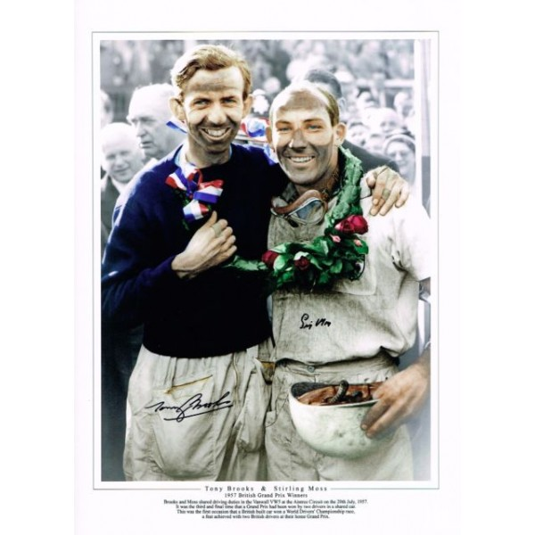 Stirling Moss Tony Brooks F1 Vanwall genuine authentic autograph signed photo