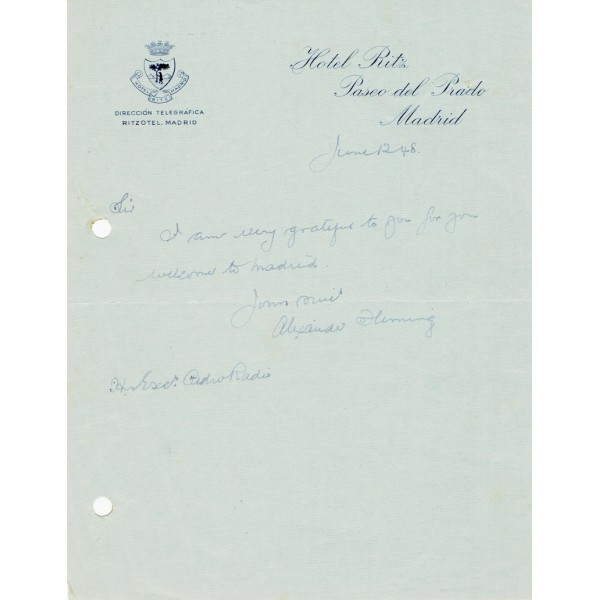 Alexander Fleming genuine authentic signed autograph signatures note