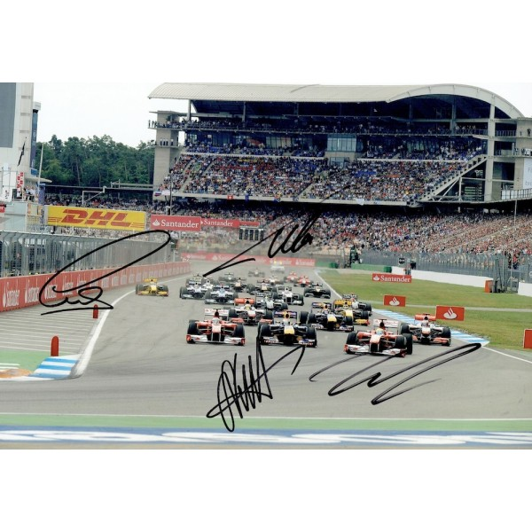 Alonso, Vettel, Hamilton, Massa signed authentic genuine signature