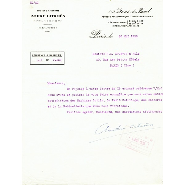 Andre-Gustave Citroen genuine authentic signed autograph signatures