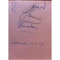 Ascari, Farina and Nuvolari authentic signed autograph signatures