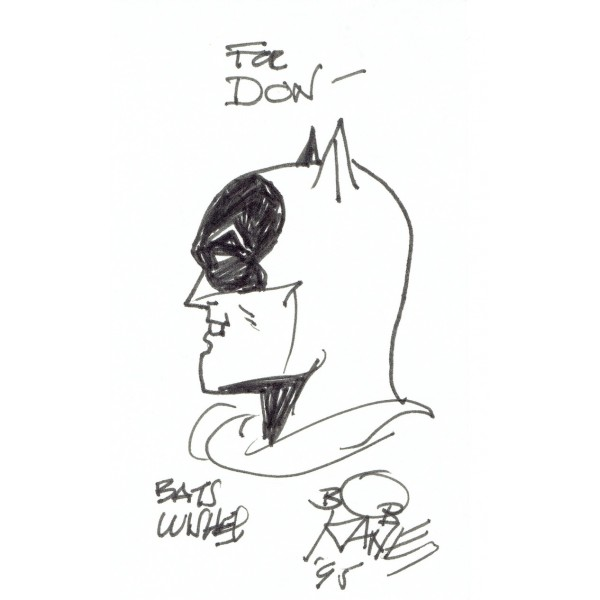 Bob Kane genuine authentic signed autograph signatures sketch