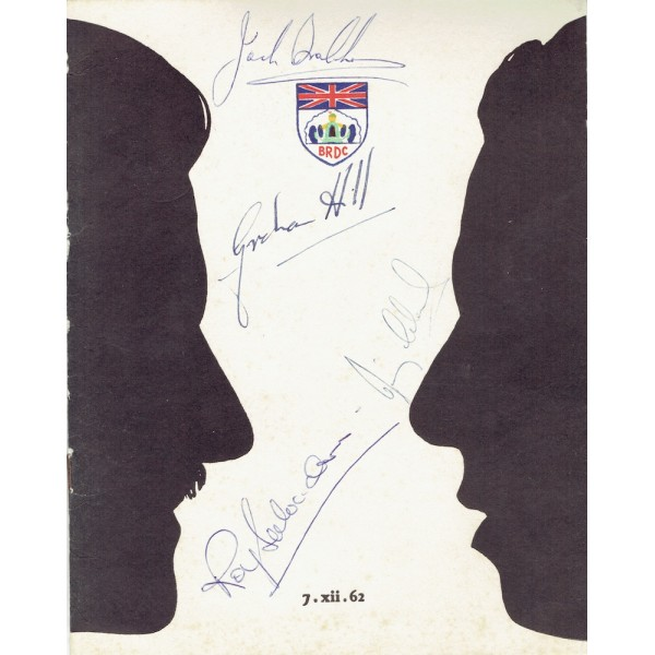 Clark, Hill, Brabham, Salvadori genuine authentic signed autograph signatures