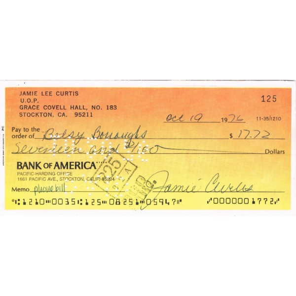 Jamie Lee Curtis  authentic genuine autograph signed cheque