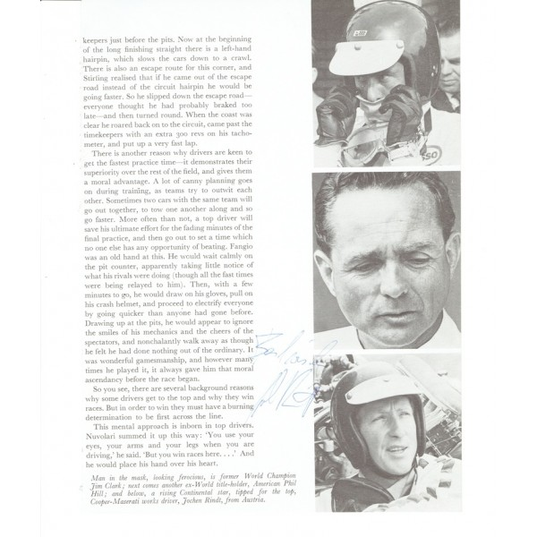 Jochen Rindt authentic genuine signed autograph