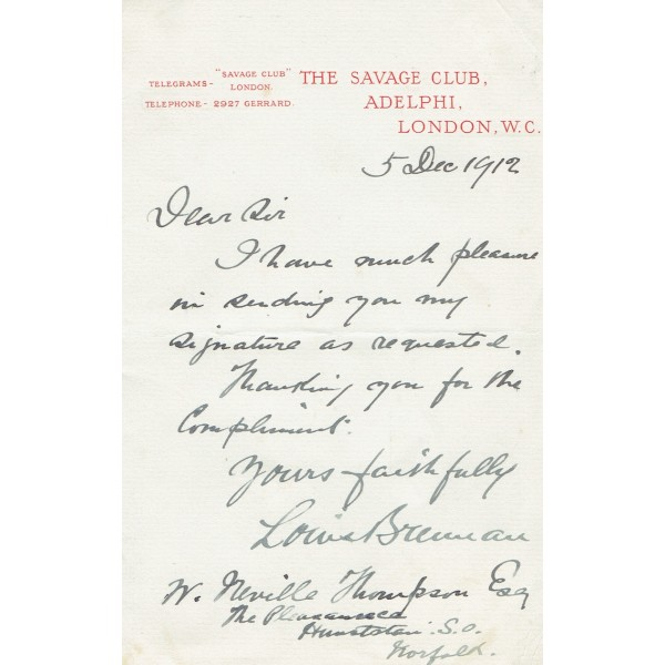 Louis Brennan  original authentic genuine autograph signed letter