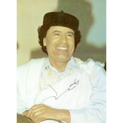 Muammar el Gaddafi genuine authentic signed autograph signatures photo