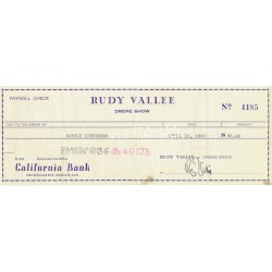 Rudy Vallee  authentic genuine autograph signed cheque