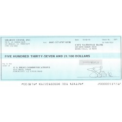 Sharon Stone original authentic genuine signed cheque