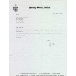 Stirling Moss  genuine signed original autograph letter