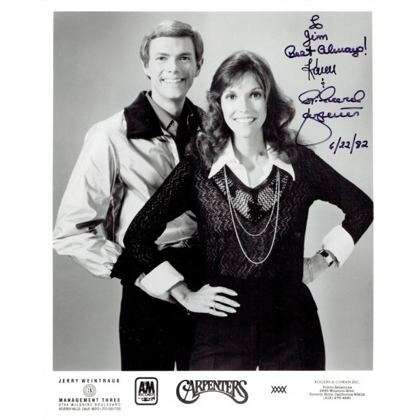 The Carpenters genuine authentic signed autograph signatures photo