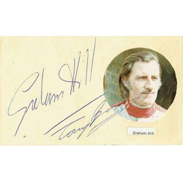 Tony Brise and Graham Hill  authentic genuine signed autographs