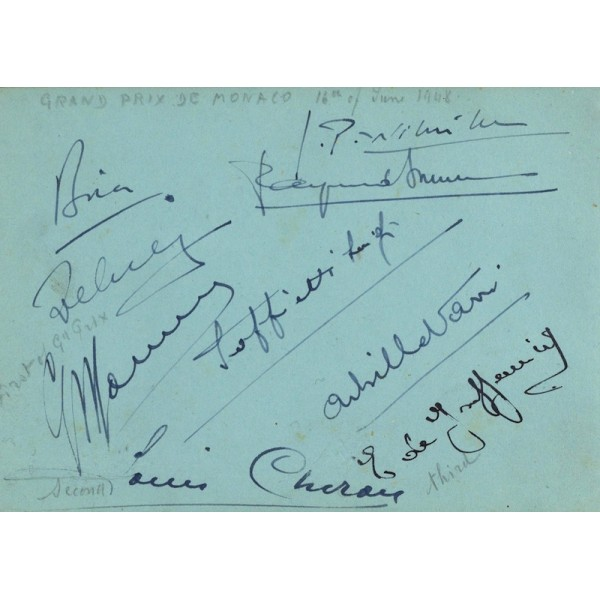 Varzi, Sommer, Farina, Wimple authentic signed autograph signatures