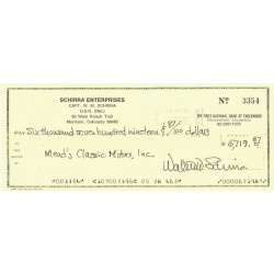 Wally Schirra original authentic genuine signed cheque