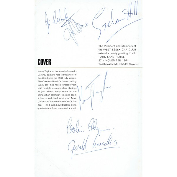 Jim Clark Colin Chapman genuine authentic signed autograph menu
