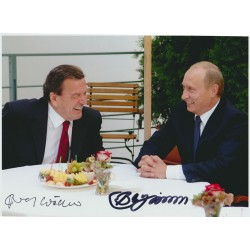 Vladimir Putin Gerhard Schroder genuine signed autograph photo