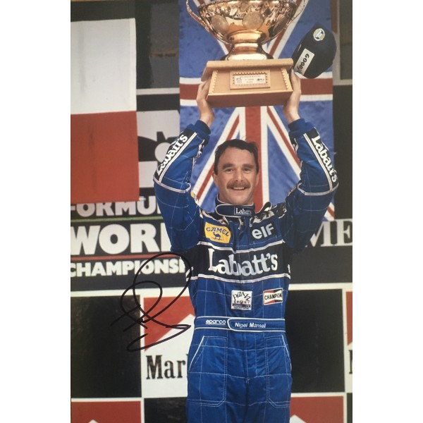 Nigel Mansell authentic signed 12 x 8 photo UACC AFTAL COA