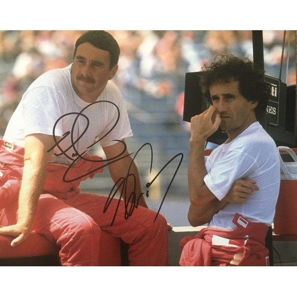 Nigel Mansell & Alain Prost genuine double signed 10 x 8 photograph