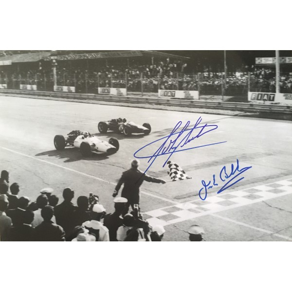 "John Surtees & Jack Brabham authentic signed autograph 12"" x 8"" photo"