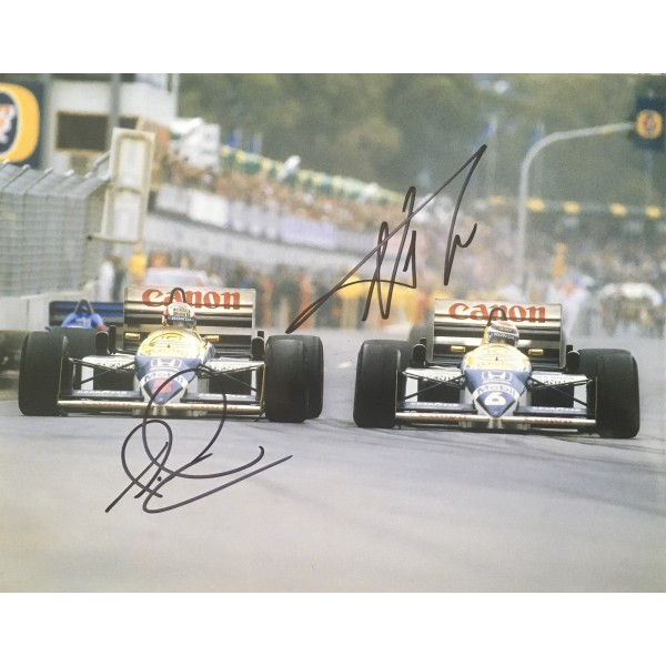 Nigel Mansell & Nelson Piquet authentic double signed 10 x 8 photo