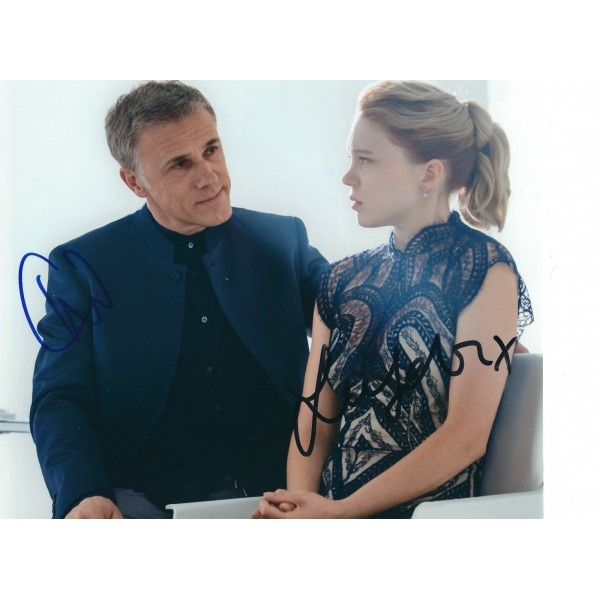 Christoph Waltz and Lea Seydoux signed 8 x 10 photo - James Bond 007 Spectre Autograph