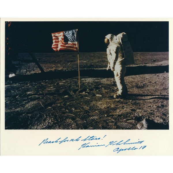 Harrison Schmitt Signed 8 x 10 Photograph - Apollo 17 Autograph