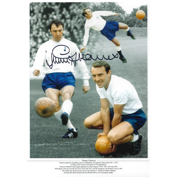 Jimmy Greaves Signed 8x12 Spurs Photograph