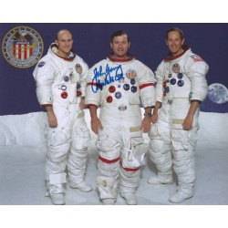 John Young Signed 8 x 10 Apollo 16 Crew Photograph