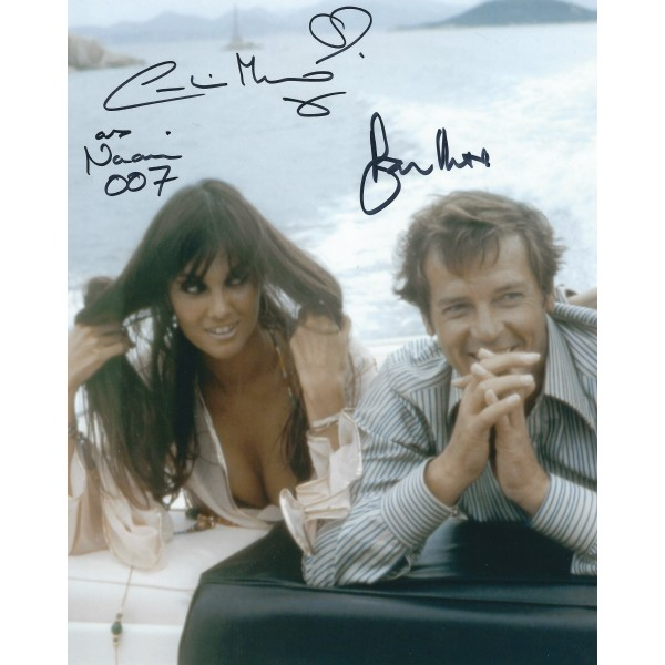 Roger Moore and Caroline Munro signed 8 x 10 Photo - 007 James Bond Autograph