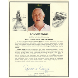 Ronnie Biggs Signed 8 x 10 Limited Edition Biography Card - The Great Train Robbery Autograph