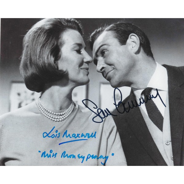 Sean Connery & Lois Maxwell Signed 8 x 10 Photo - 007 James Bond Autograph