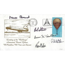 Space Shuttle  STS 41 B  Crew Signed Postal Cover  Ron McNair