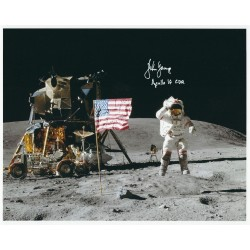 John Young Signed 8 x 10 Photo Apollo 16 Moonwalker Autograph