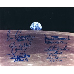 Moonwalkers Signed 8 x 10 Photo - Buzz Aldrin Alan Bean Edgar Mitchell Dave Scott Charlie Duke Gene Cernan