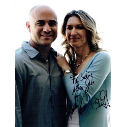 Andre Agassi and Steffi Graf signed authentic genuine signature